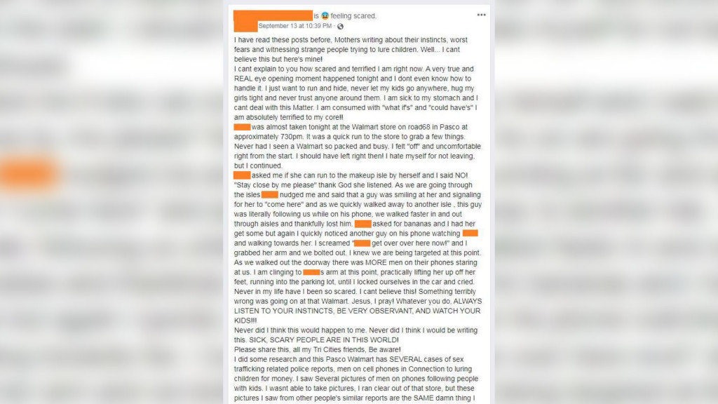 Woman admits to lying in viral post about attempted abduction at Pasco Walmart