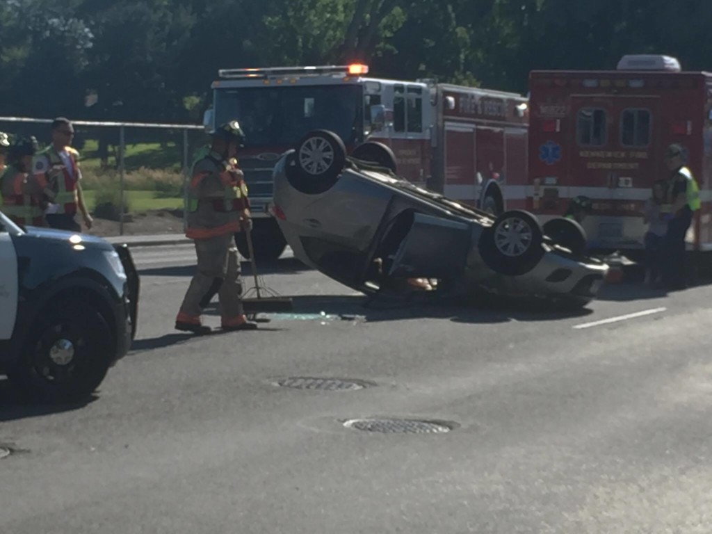 Failure to yield causes rollover accident