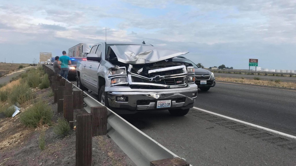 Pickup collides with semi truck on Highway 12 causing traffic delays