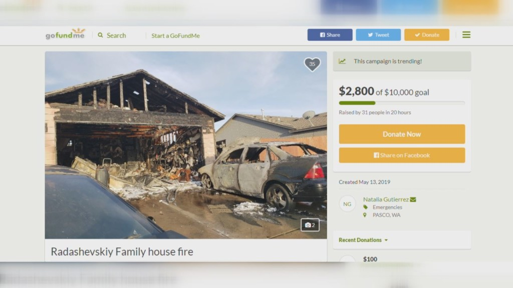 GoFundMe started for Pasco family who lost home to fire