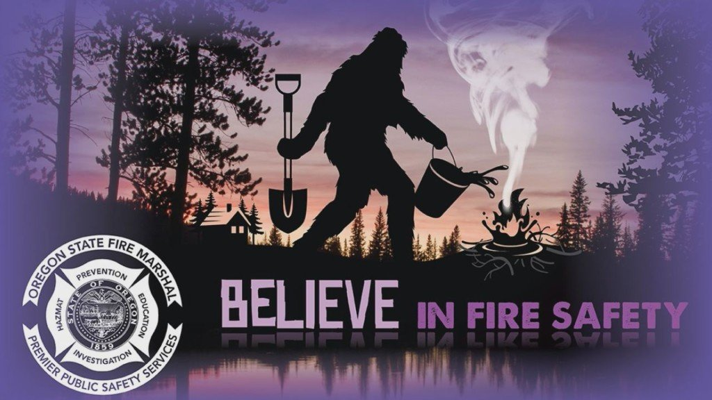 Bigfoot promoting wildfire safety in Oregon