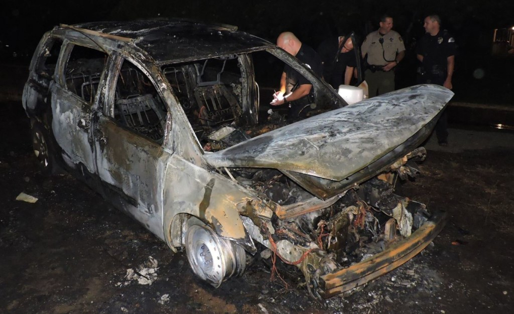 Stolen minivan torched and abandoned outside of Pasco