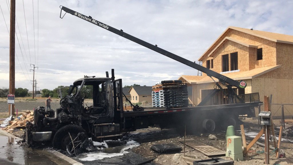Truck destroyed when boom touches powerline at Kennewick construction site