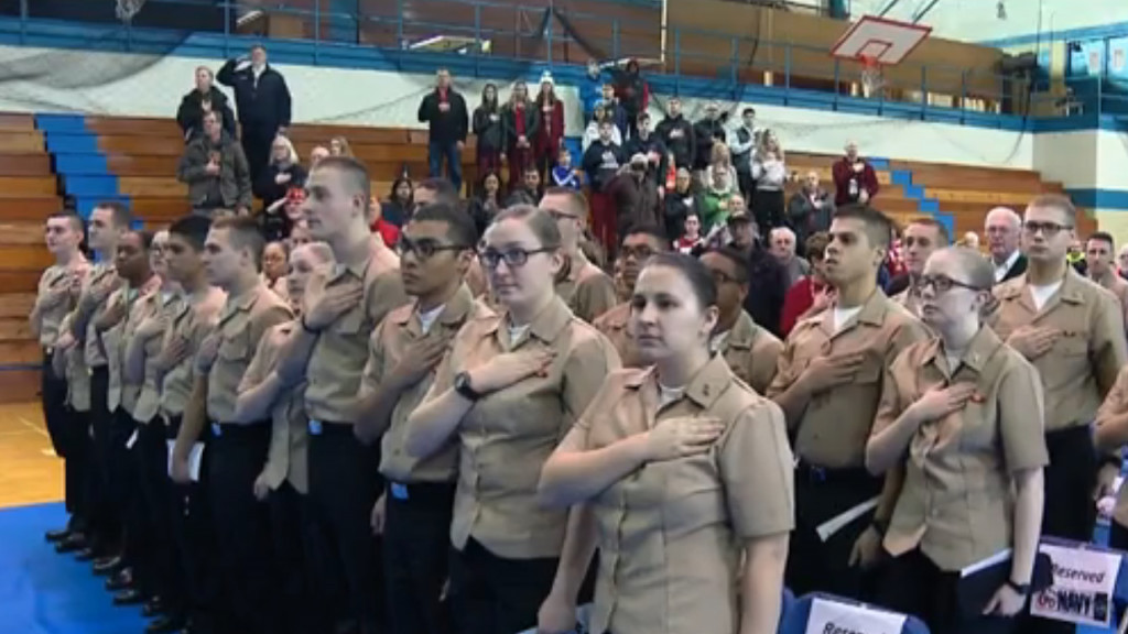 Navy recruits surprised by community members on Christmas