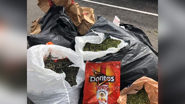 Trash bags of weed found along I-182, trooper says