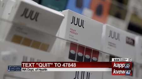 Juul e-cigarette packets on shelf