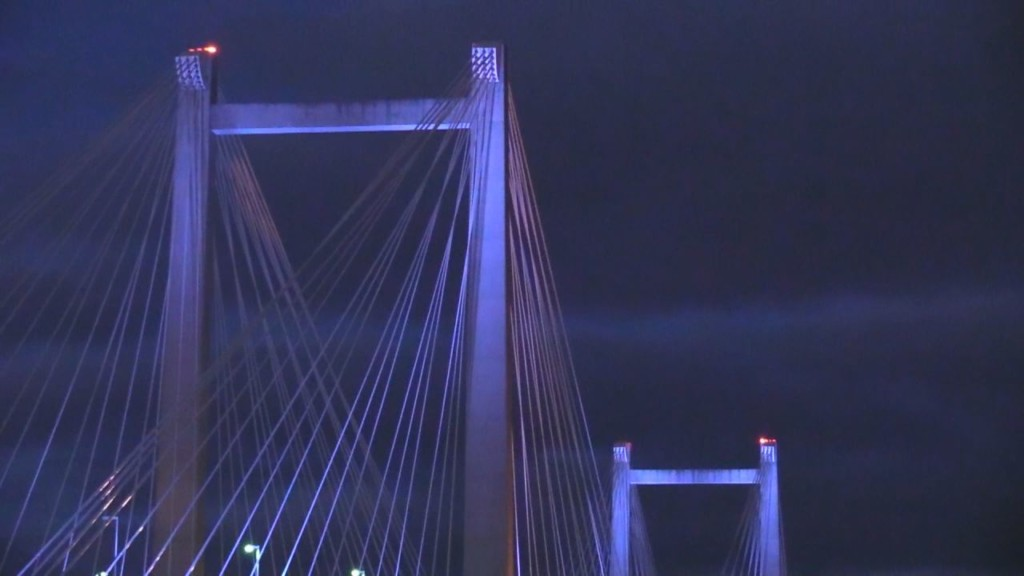 Lighting the Cable Bridge for Natl. Human Trafficking Awareness Month