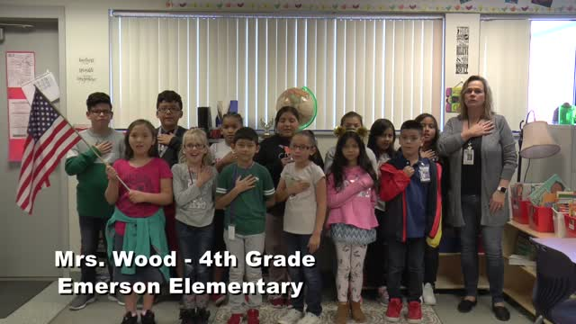 Raise the Flag: Mrs Wood's 4th grade class at Emerson Elementary