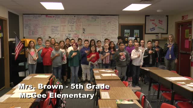 Raise the Flag: Mrs. Brown's 5th grade class at McGee Elementary