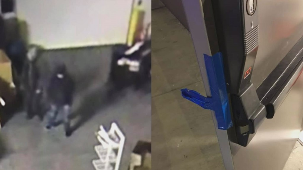 On the left is a security footage of suspects and on the right is a taped side door at Goodwill