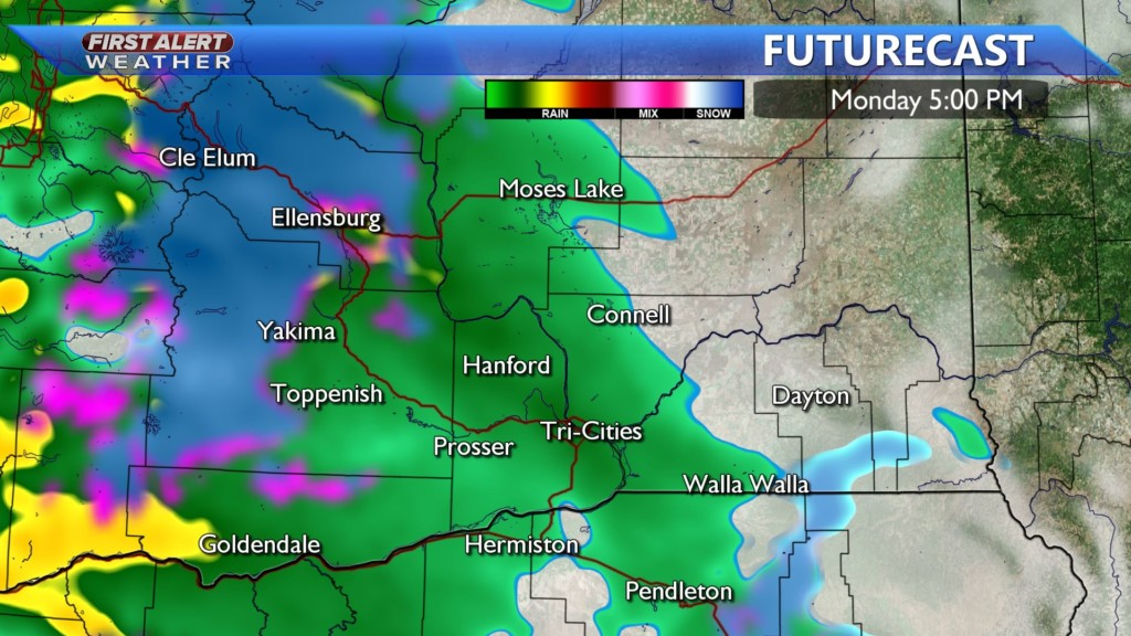 Monday afternoon rain showers