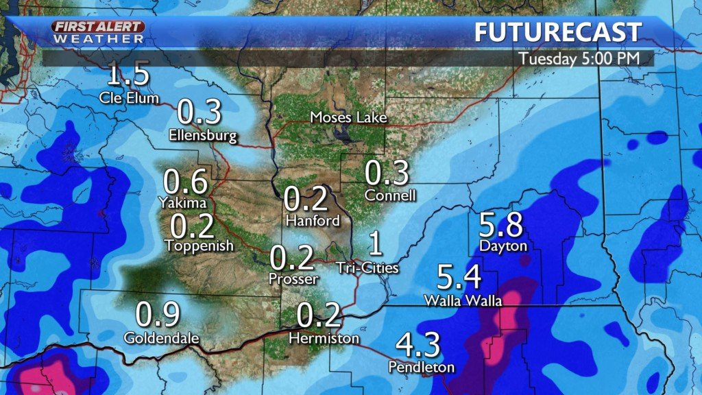 Snow totals today through Tuesday
