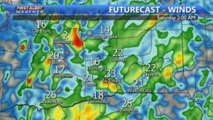 Tonight wind gusts to 35 MPH