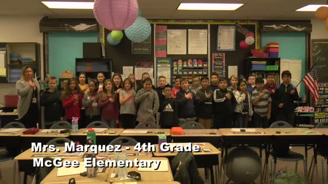 Raise the Flag: Mrs. Marquez's 4th grade class at McGee Elementary