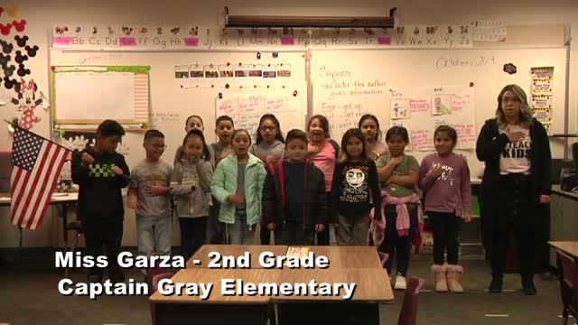 Raise the Flag: Ms. Garza's 2nd grade class at Captain Gray Elementary