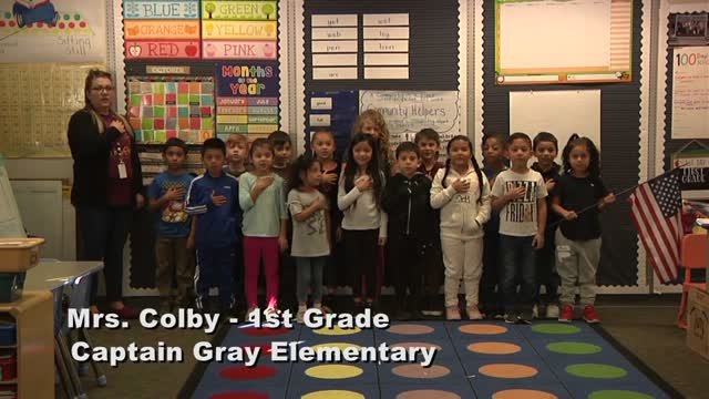 Raise the Flag - Mrs. Colby's 1st grade class at Captain Gray Elementary