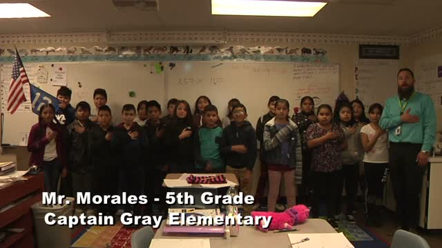 Raise the Flag: Mr. Morales' 5th grade class at Captain Gray Elementary