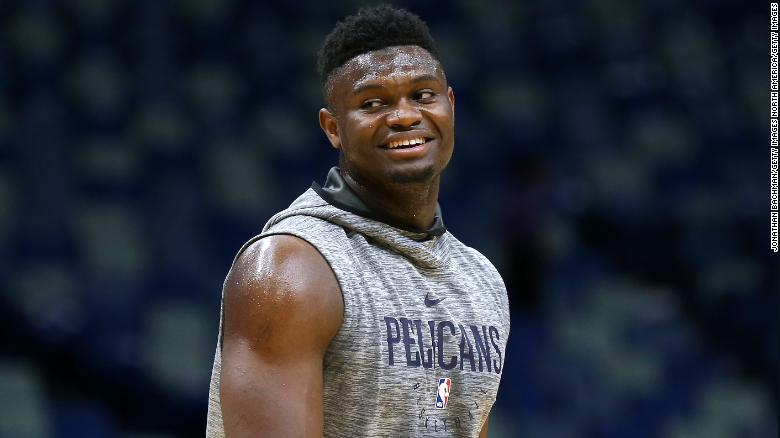 Zion Williamson smiling while on the court