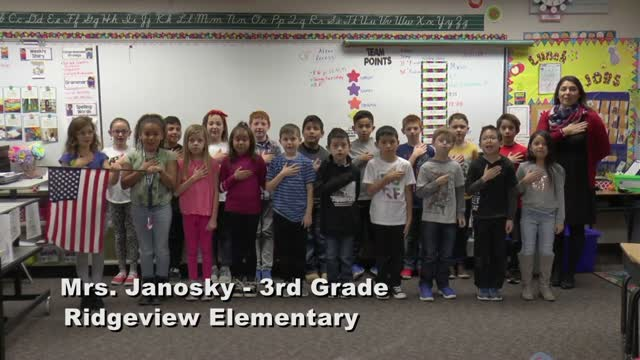 Raise The Flag Mrs. Janosky's 3rd Grade Class At Ridgeview Elementary