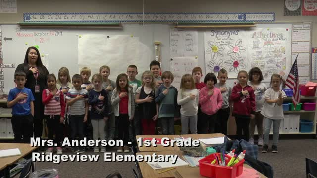 Raise The Flag Mrs. Anderson's 1st Grade Class At Ridgeview Elementary