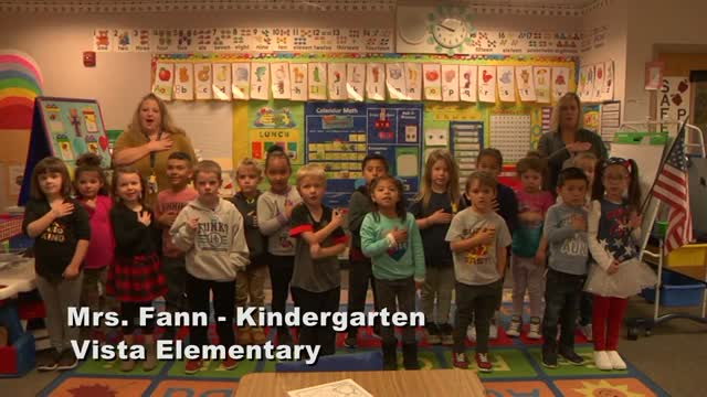 Raise The Flag Mrs. Fann's Kindergarten Class At Vista Elementary