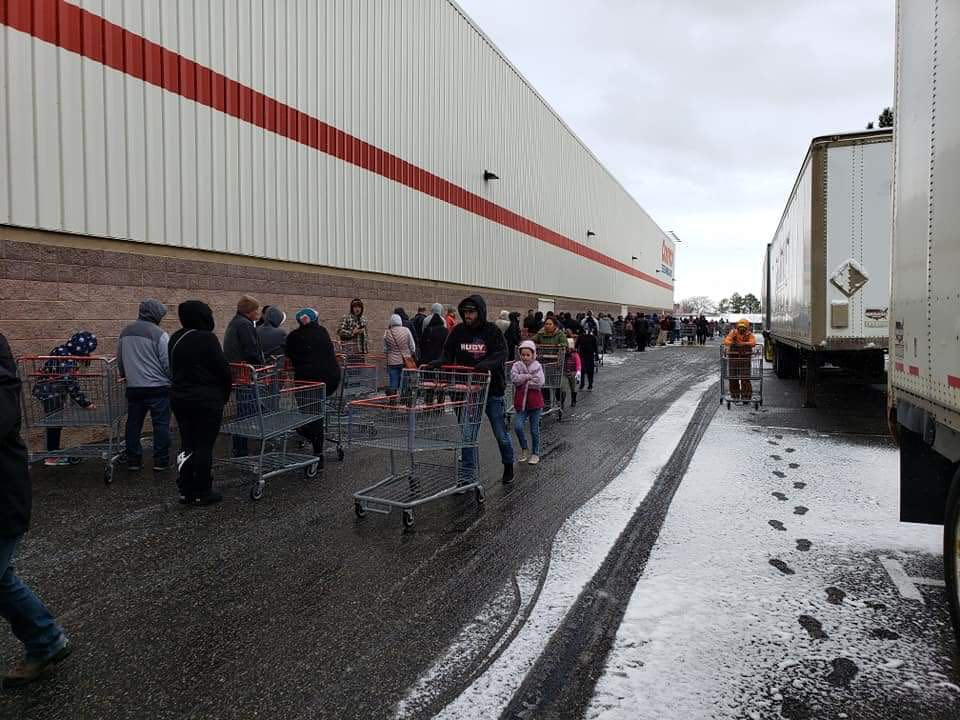 Costco shoppers lined up