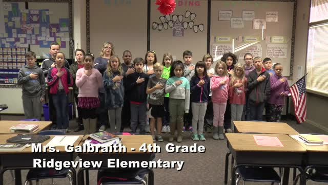 Raise The Flag: Mrs Galbraith 4th Grade Class At Ridgeview Elementary