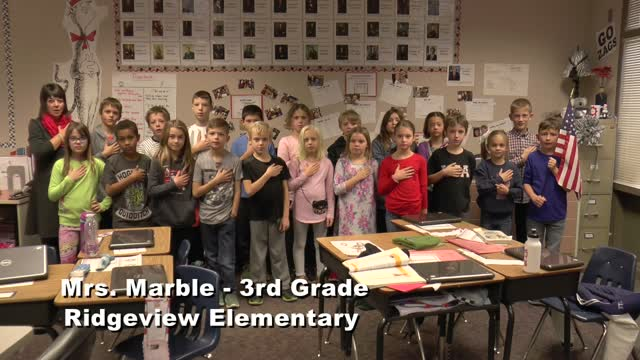 Raise The Flag: Mrs. Marble's 3rd Grade Class At Ridgeview Elementary