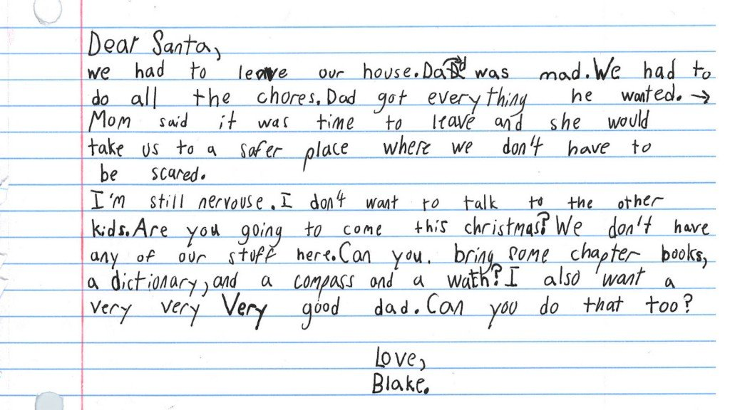 Boy living in domestic violence shelter asks Santa for books and a 'very good dad'
