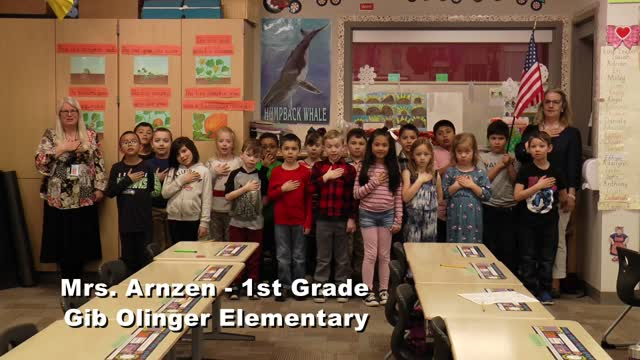 Raise The Flag Mrs. Arnzen's 1st Grade At Gib Olinger Elementary