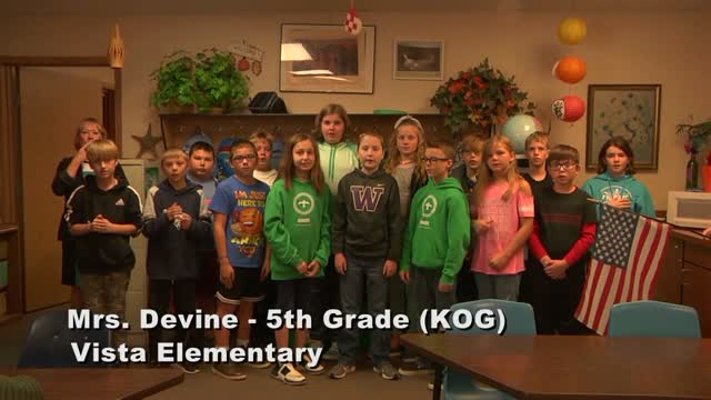Raise The Flag Mrs. Devine's 5th Grade Class At Vista Elementary