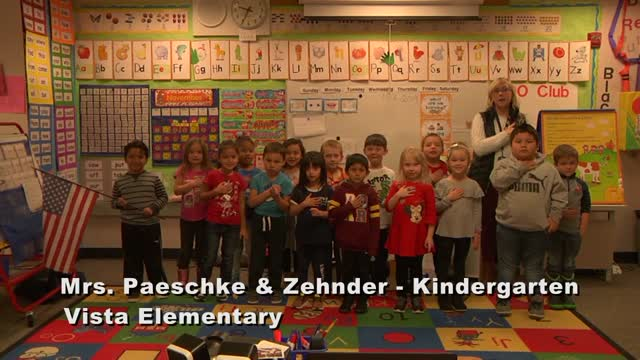 Raise The Flag Mrs. Paeschke And Zehnder's Kindergarten Class At Vista Elementary