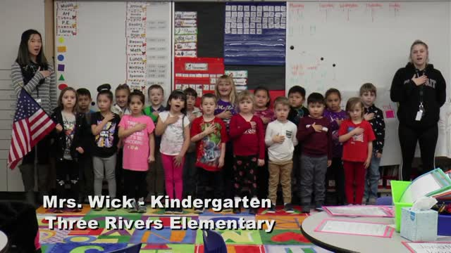 Raise The Flag Mrs. Wick's Kindergarten Class At Three Rivers Elementary