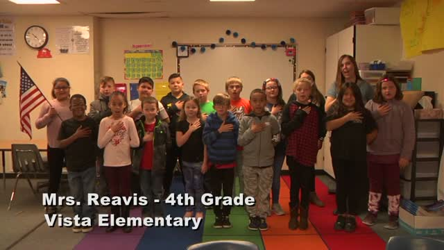 Raise The Flag Mrs. Reavis' 4th Grade Class At Vista Elementary