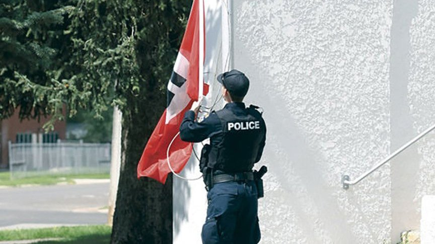 A Nazi flag was found flying at a public park in Wyoming