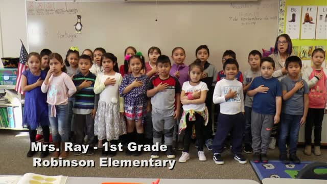 Raise The Flag Mrs. Ray's 1st Grade Class At Robinson Elementary