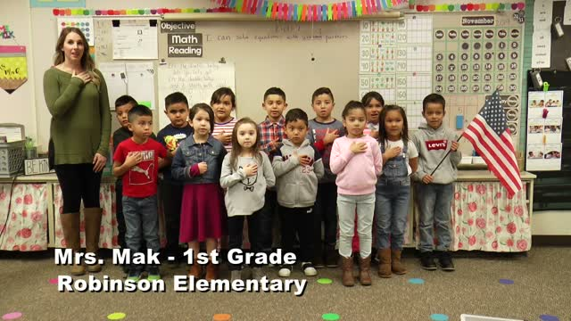 Raise The Flag: Mrs. Mak's 1st Grade Class At Robinson Elementary