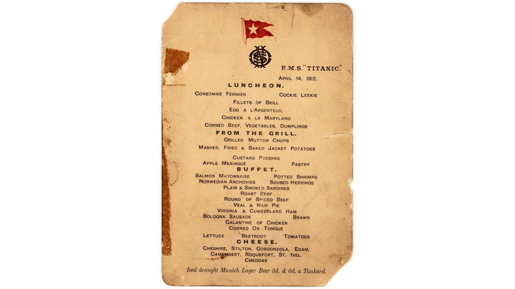 Menu from last lunch served aboard the Titanic sells for $88,000