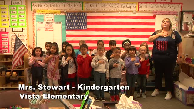 Raise The Flag: Mrs. Stewart's Kindergarten Class At Vista Elementary