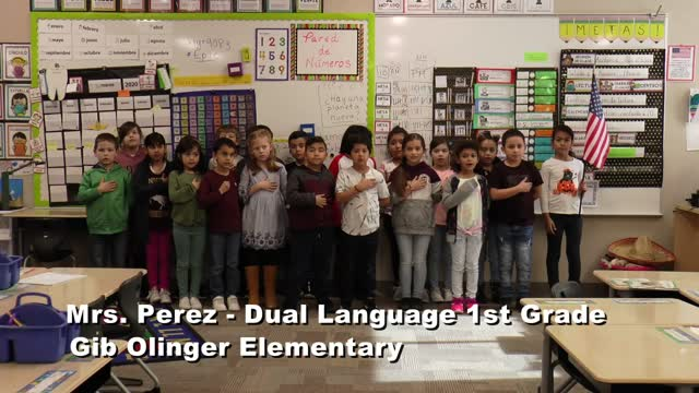 Raise The Flag Mrs. Perez' Dual Language 1st Grade Class At Gib Olinger Elementary