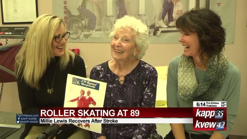 """'Magnificent Millie"""" skates again at 89 following stroke"""