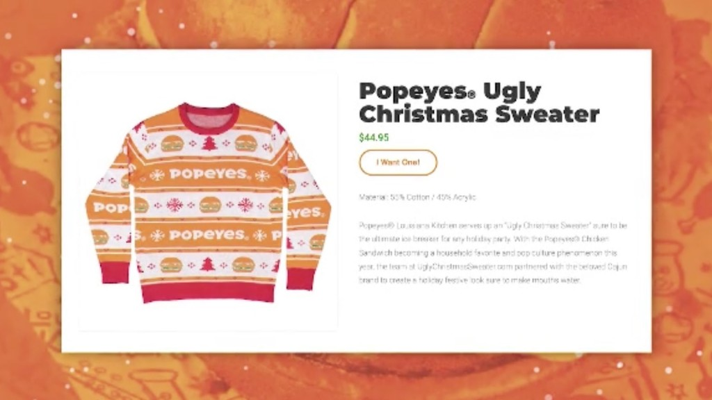 Popeyes debuts chicken-inspired ugly Christmas sweater