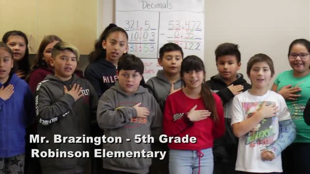 Raise The Flag Mr. Brazington's 5th Grade Class At Robinson Elementary