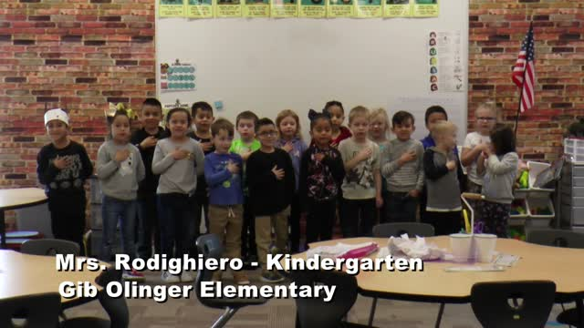 Raise The Flag Mrs. Rodighiero's Kindergarten Class At Gib Olinger Elementary