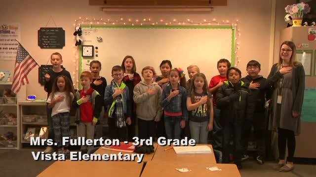 Raise The Flag Mrs. Fullerton's 3rd Grade Class At Vista Elementary