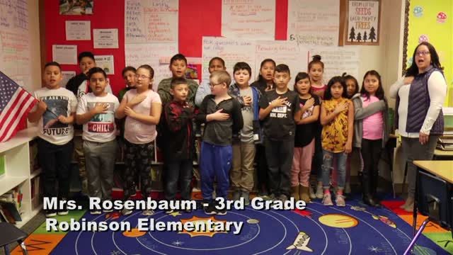 Raise The Flag Mrs. Rosenbaum's 3rd Grade Class At Robinson Elementary