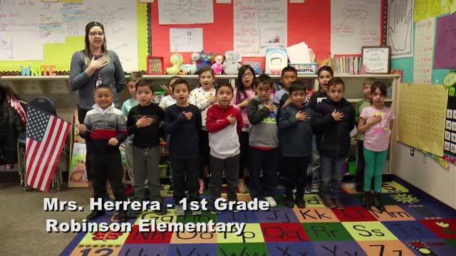 Raise The Flag Mrs. Herrera's 1st Grade Class At Robinson Elementary