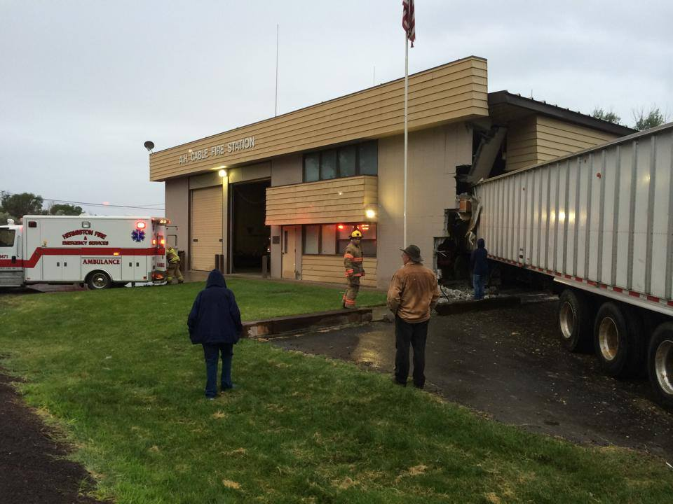 Semi-Truck Crashes into Hermiston Fire Building