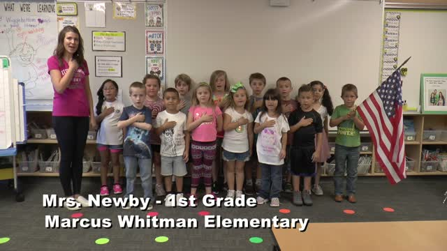 Raise The Flag Mrs. Newby's 1st Grade Class At Marcus Whitman Elementary