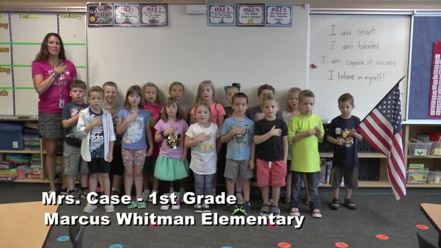 Raise The Flag Mrs. Case's 1st Grade Class At Marcus Whitman Elementary